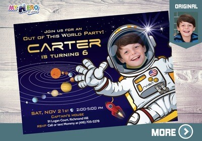 Astronaut Birthday Invitation, Out of this world party, Outer Space Party, Astronaut Digital Invitation, Astronaut Virtual Birthday. 004