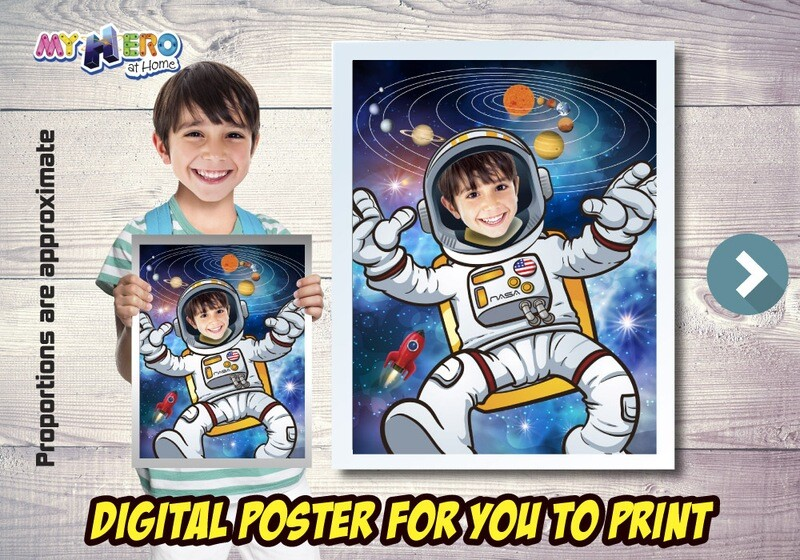 Astronaut Poster, Astronaut Decoration, Astronaut Wall Decor, Child Astronaut Decor, Universe Poster, Milky Way poster, Astronaut Gifts. 493