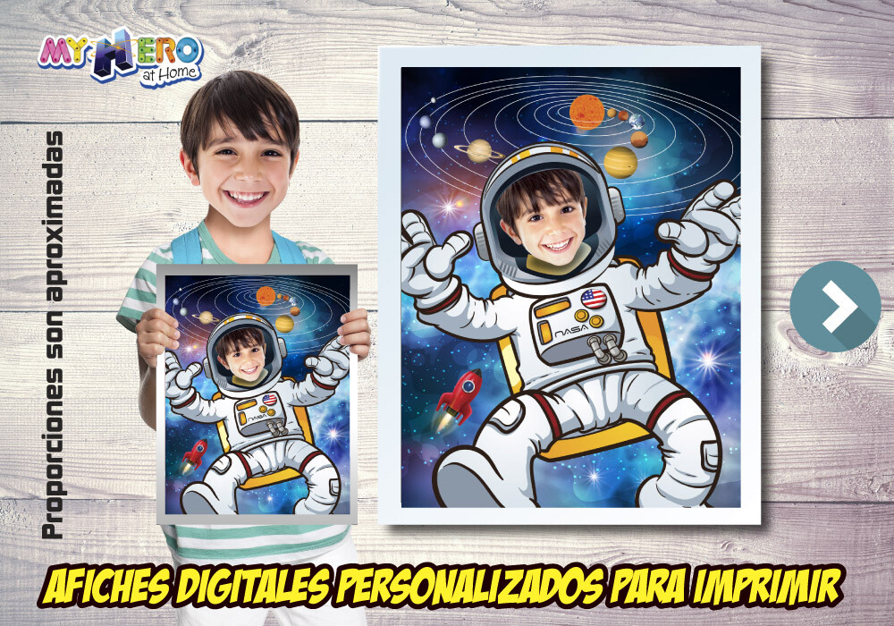 Afiche de Astronauta, Afiche Personalizado de Astronauta,  Decoración Astronauta, Fiesta Astronauta, Pared Sistema Solar. 493SP