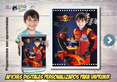 Afiche Personalizado de Carros de Carrera, Decoración Carrera Carros, Fiesta Carrera Carros. 494SP