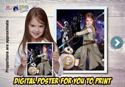 Jedi Rey Poster, Jedi Rey Decoration, Jedi Rey Art, Jedi Rey Gifts Fans, Jedi Rey Wall, Star Wars Decor, Star Wars Gifts Fans, Jedi Rey Party. 495