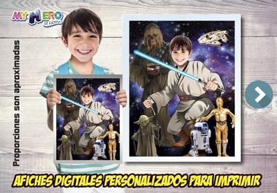 Afiche Personalizado de Jedi, Decoración Jedi, Afiche Jedi, Decoracion Star Wars, Fiesta tema Jedi. 497BSP