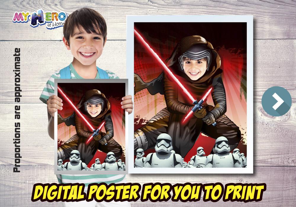 Kylo Ren Poster, Dark Side Poster, Kylo Ren Room Decor, Kylo Ren Fans, Kylo Ren Wall Decor, Kylo Ren Gifts. 500
