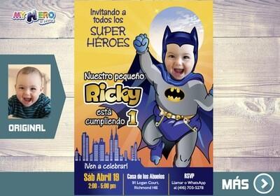 Baby Batman Invitación de Cumpleaños, Fiesta tema Batman,  Invitacion de Baby Batman, Cumple tema Batman. 060SP
