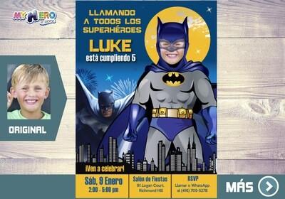Batman Invitación de Cumpleaños, Fiesta tema Batman, Invitacion de Batman, Cumple Batman Clasico. 061SP