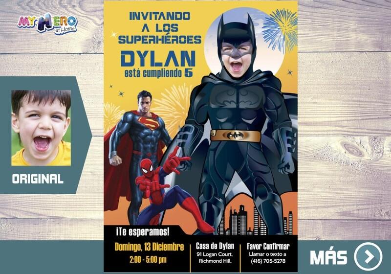 Batman Invitación Cumple, Fiesta tema Batman, Invitacion Digital de Batman, Cumpleanos Batman Superheroes. 064SP