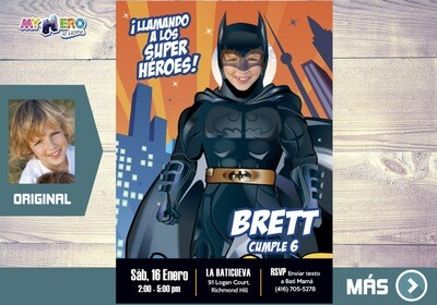 Invitación de Batman, Fiesta de Batman, Invitacion Digital Batman, Cumpleanos Batman. 215SP