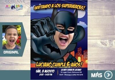 Batman Invitación, Fiesta de Batman, Invitacion Digital Batman, Cumpleanos Batman. 451SP