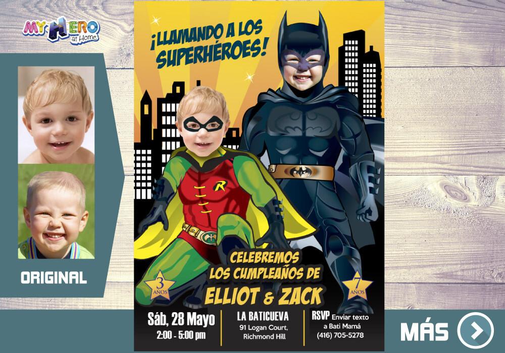 Batman de Batman y Robin, Fiesta de Batman y Robin, Invitacion Digital Ciudad Gotica, Cumple Batman y Robin. 296SP