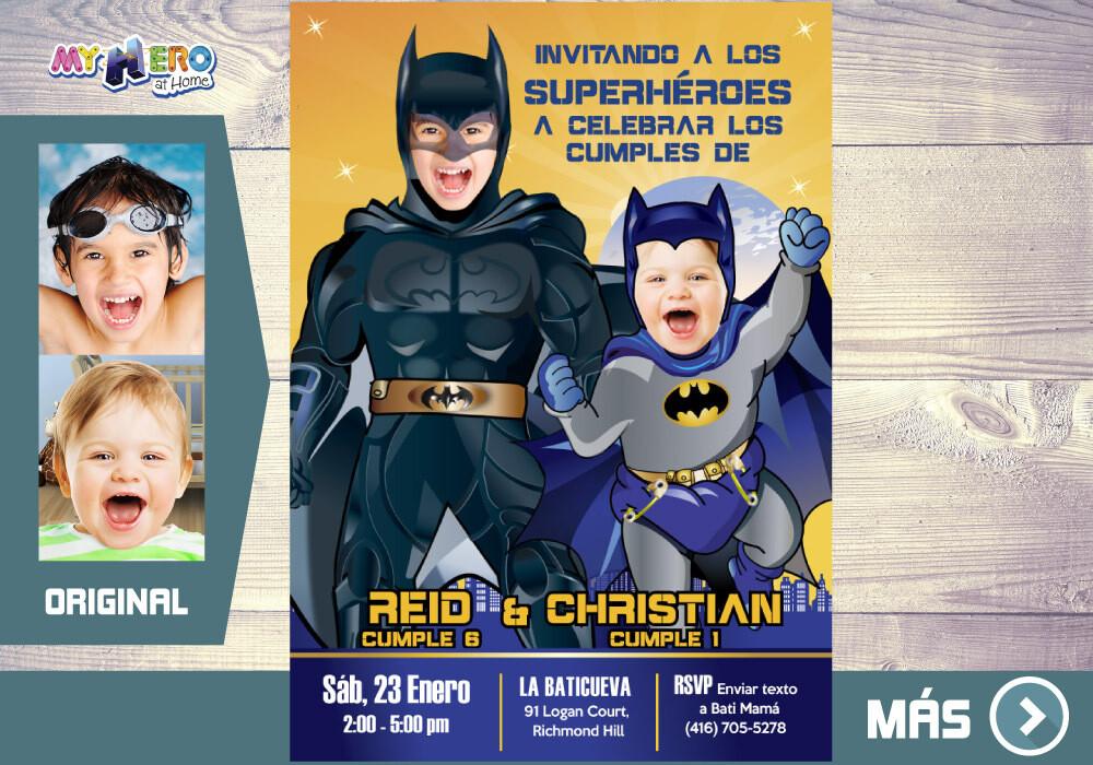 Batman Invitación Conjunta, Fiesta de Batman, Invitacion Conjunta Digital de Batman, Cumpleanos equipo Batman. 071SP