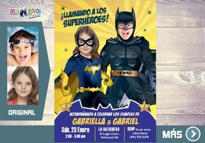 Batman de Batman y Batichica, Fiesta de Batman y Batichica, Invitacion Digital Ciudad Gotica, Cumple Batman y Batichica. 297SP