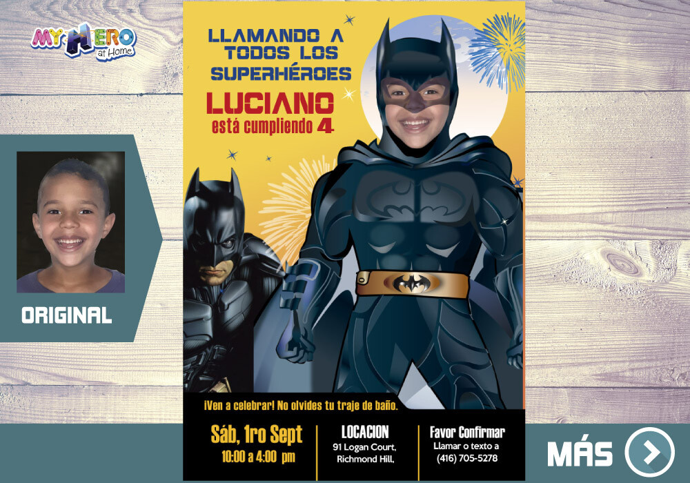 Batman Invitación de Cumple, Fiesta tematica Batman, Invitacion Digital Batman, Cumpleanos Batman. 063SP