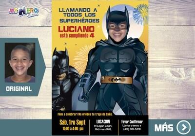 Batman Invitación de Cumple, Fiesta tematica Batman, Invitacion Digital Batman, Cumpleanos Batman. 063SP