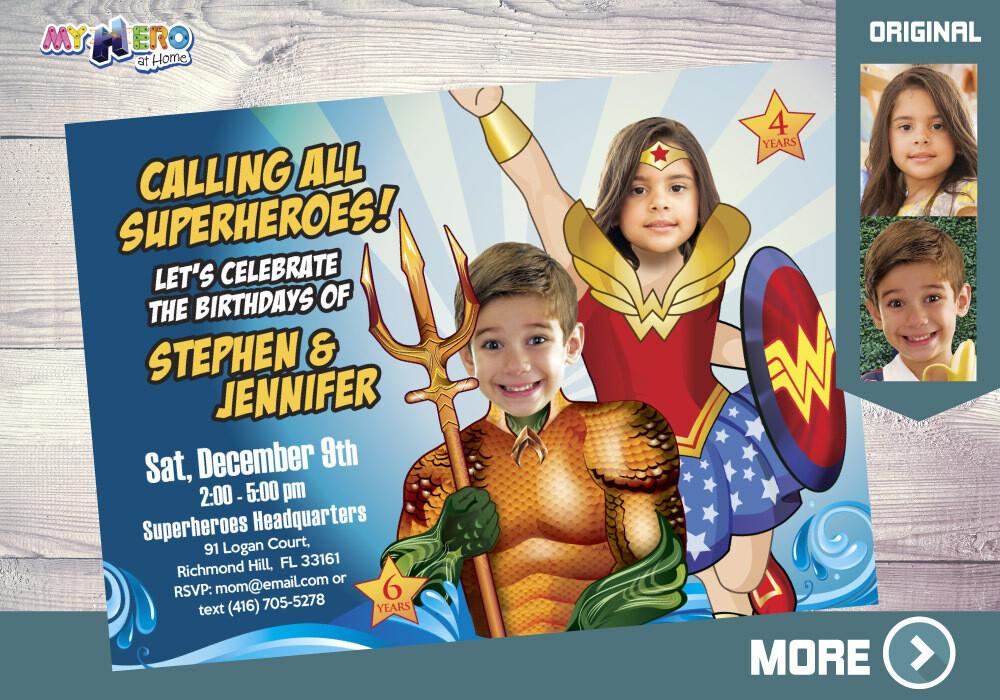 Aquaman and Wonder Woman Invitation, Superheroes Birthday Invitation, Joint superheroes party, Wonder Woman and Aquaman Party, 387