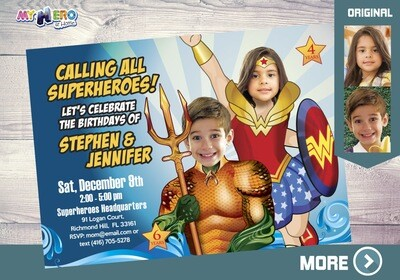 Aquaman and Wonder Woman Invitation, Superheroes Birthday Invitation, Joint superheroes party, Wonder Woman and Aquaman Party, 387