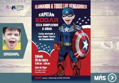 Capitan America Invitacion de Cumpleaños, Fiesta tema Capitan America, Invitacion Capitan America, Cumple tema Capitan America. 074SP