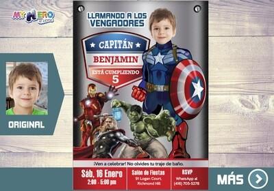Fiesta tema Capitan America, Capitan America Invitacion de Cumpleanos, Invitacion Capitan America, Capitan America Digital. 077SP2