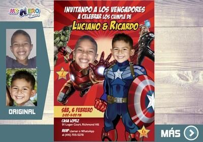 Iron Man y Capitan America Invitacion, Avengers Invitacion de Cumpleanos, Fiesta Iron Man y Capitan America. 079SP