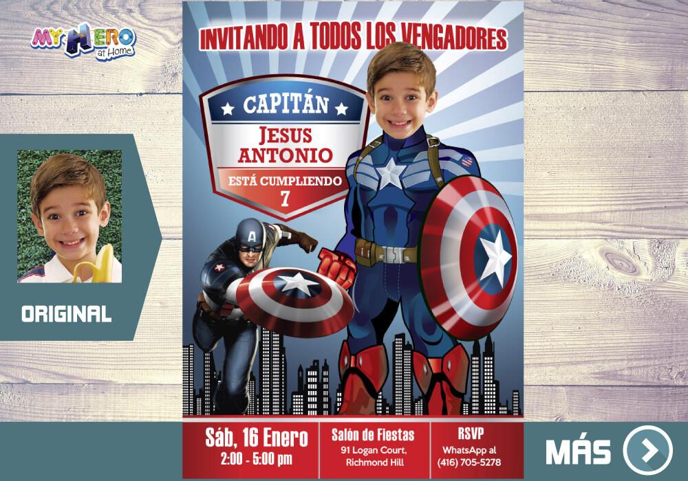 Capitan America Invitacion de Cumpleanos, Fiesta tema Capitan America, Invitacion Capitan America, Capitan America Digital. 075SP