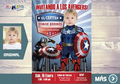 Bebe Capitan America Invitacion Cumpleanos, Fiesta tema Bebe Capitan America, Invitacion Bebe Capitan America, Primer Cumple Capitan America. 075BSP