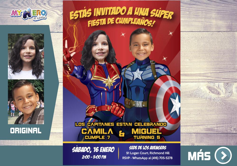 Capitana Marvel y Capitan America Invitacion, Avengers Invitacion de Cumpleanos, Fiesta Capitana Marvel y Capitan America. 236SP