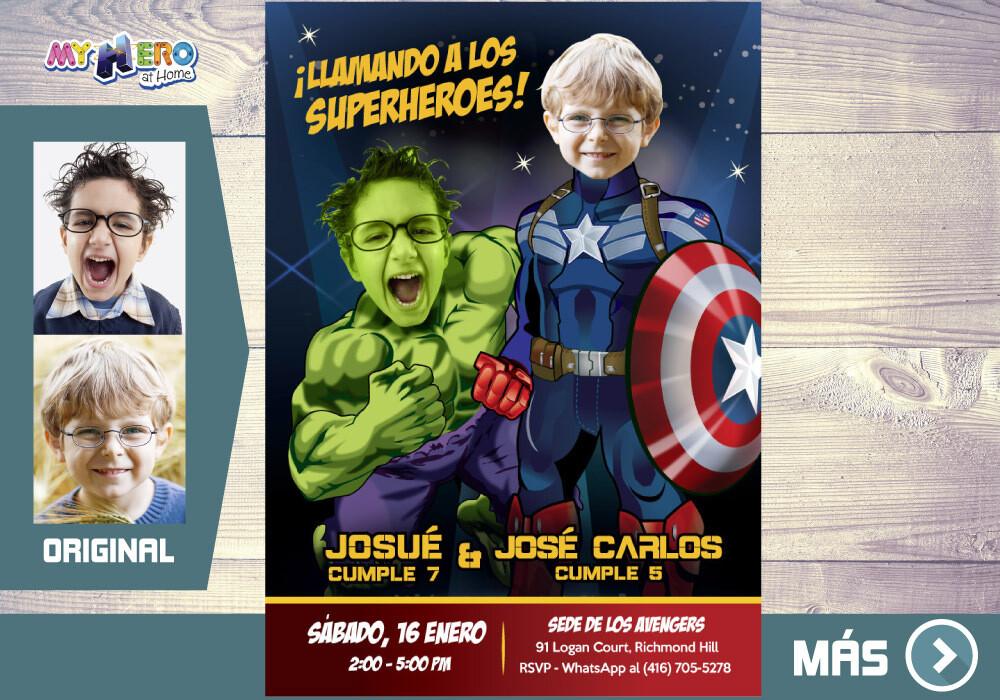Capitan America y Hulk Invitacion, Avengers Invitacion de Cumpleanos, Fiesta Hulk y Capitan America. Avengers Digital. 169SP