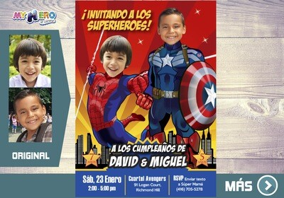 Capitan America y Spider-Man Invitacion, Avengers Invitacion de Cumpleanos, Fiesta Spider-Man y Capitan America. Avengers Digital. 197SP