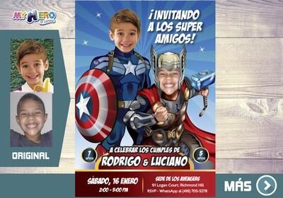 Capitan America y Thor Invitacion, Avengers Invitacion de Cumpleanos, Fiesta Thor y Capitan America. Avengers Digital. 240SP