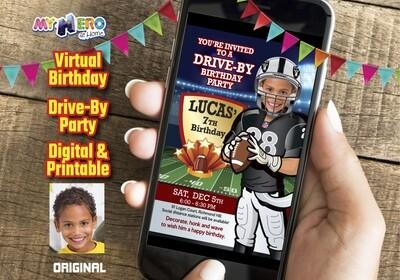 Football Drive By Birthday Invitation, Football Birthday Parade, Football Digital Invitation, Football Social Distance Birthday. 419DB