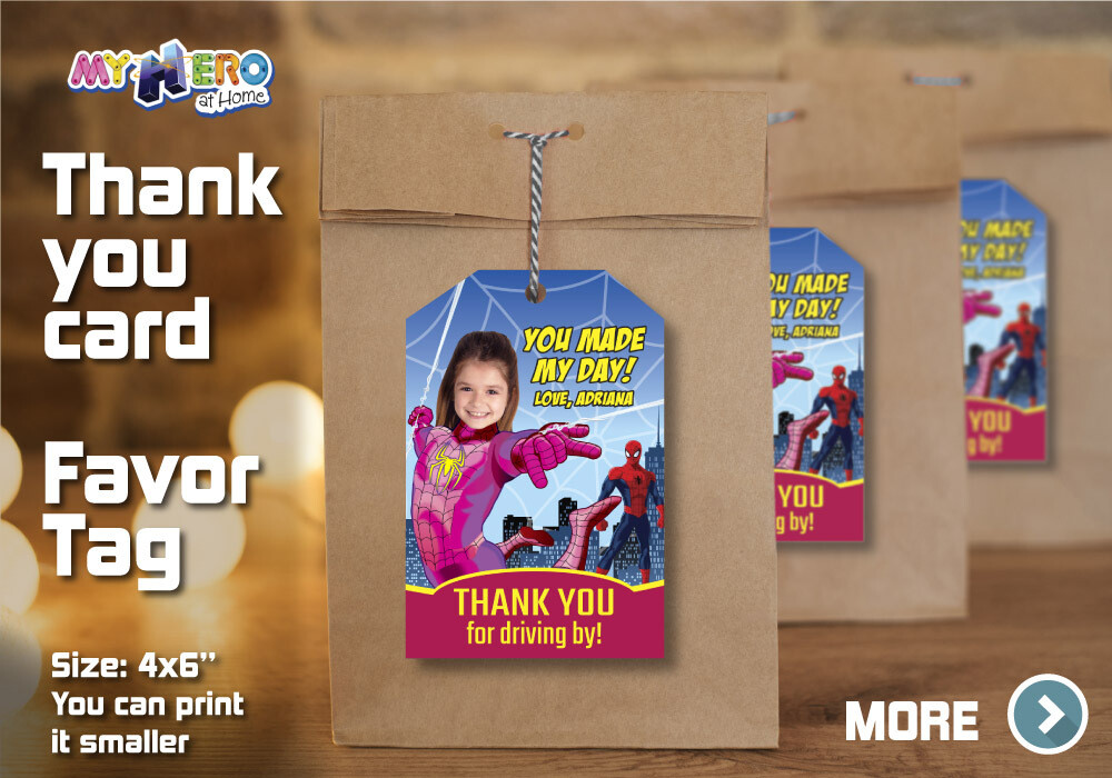 Spider-Girl Thank You for Driving By, Spider-Girl Favor Tag, Spider-Girl Thank You Card, Girl Spiderman Thank You for driving by. 391TY