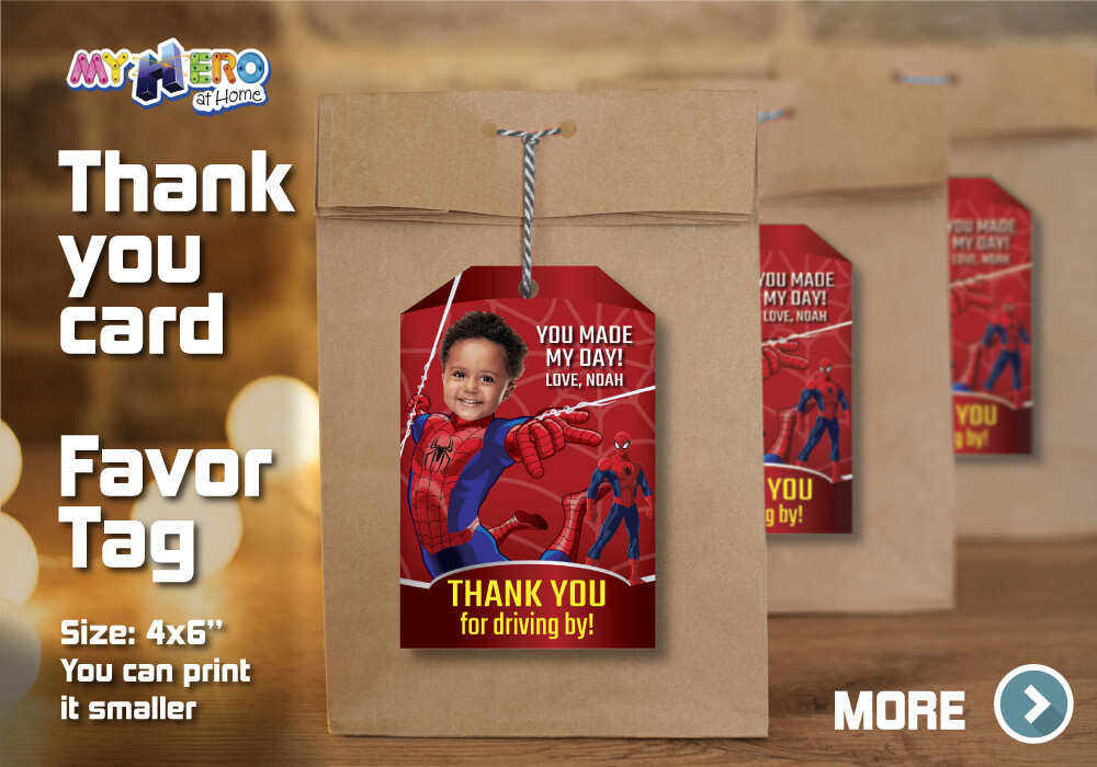Spider-Man Thank You for Driving By, Spider-Man Favor Tag, Spider-Man Thank You Card, Avengers Thank You for driving by. 136TY