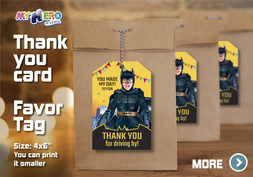 Batman Thank You for Driving By, Batman Favor Tag, Batman Thank you note, Batman Thank You Card, Superhero Thank You for driving by. 215TY