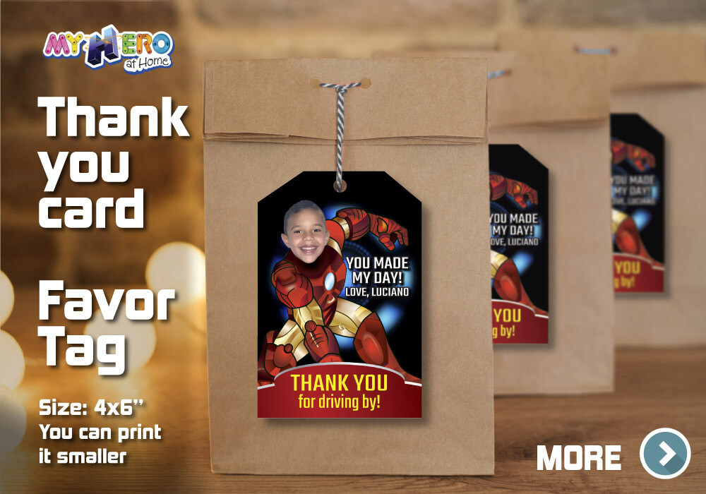 Iron Man Thank You for Driving By, Iron Man Favor Tag, Iron Man Thank you note, Iron Man Thank You Card. 095TY