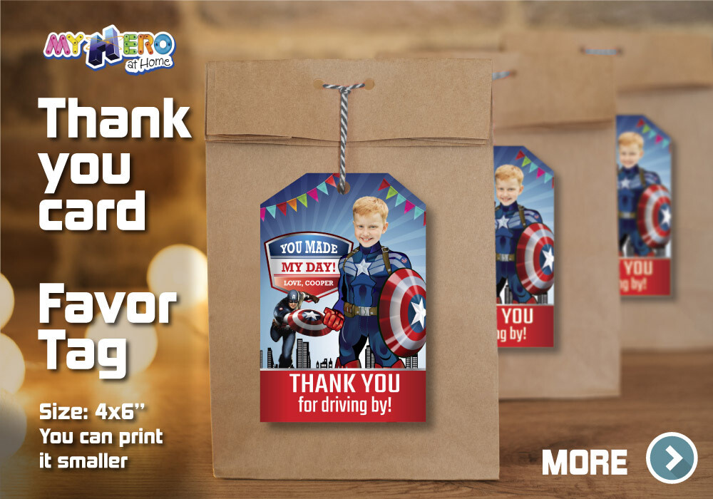 Captain America Thank You for Driving By, Captain America Favor Tag, Captain America Thank You Card, Avengers Thank You for driving by 075TY
