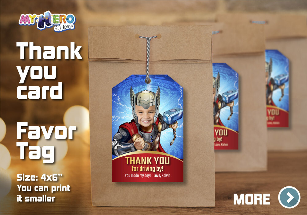 Thor Thank You for Driving By, Thor Favor Tag, Thor Thank you note, Thor Thank You Card, Avengers Thank You for driving by. 154TY