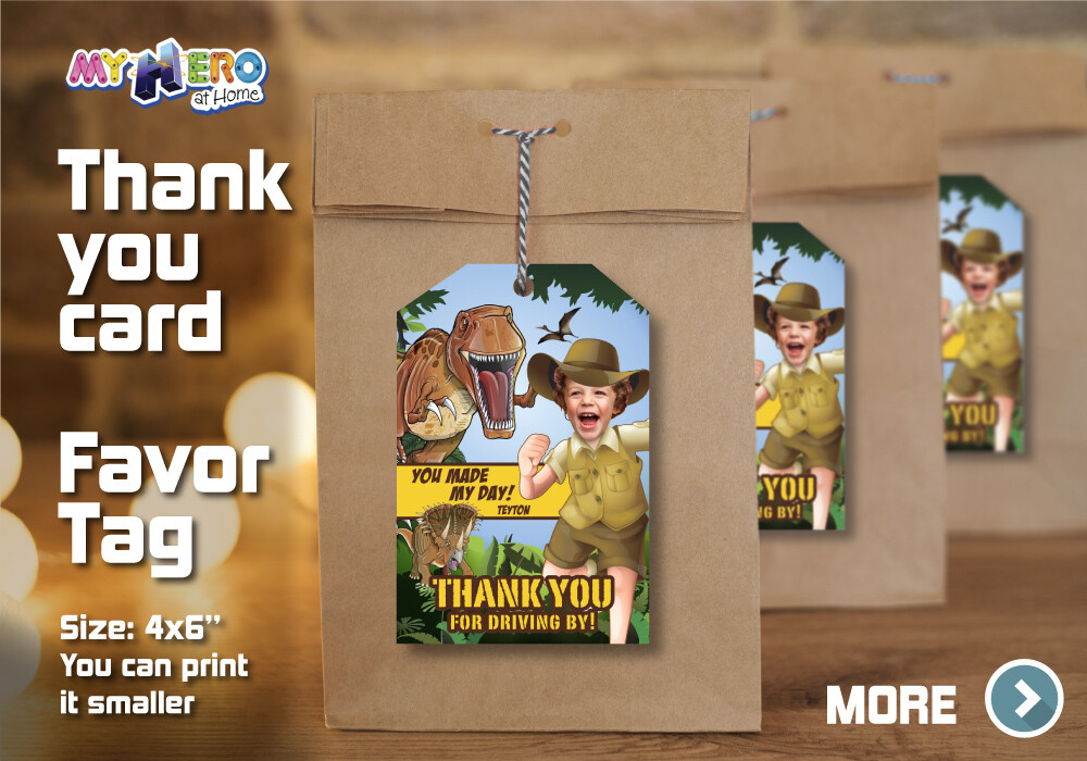 Dinosaurs Thank You for Driving By, Dino Favor Tag, Dinosaurs Thank You Card, Dinosaurs Favor Tag, Dinosaurs Favor Bag. 208TY