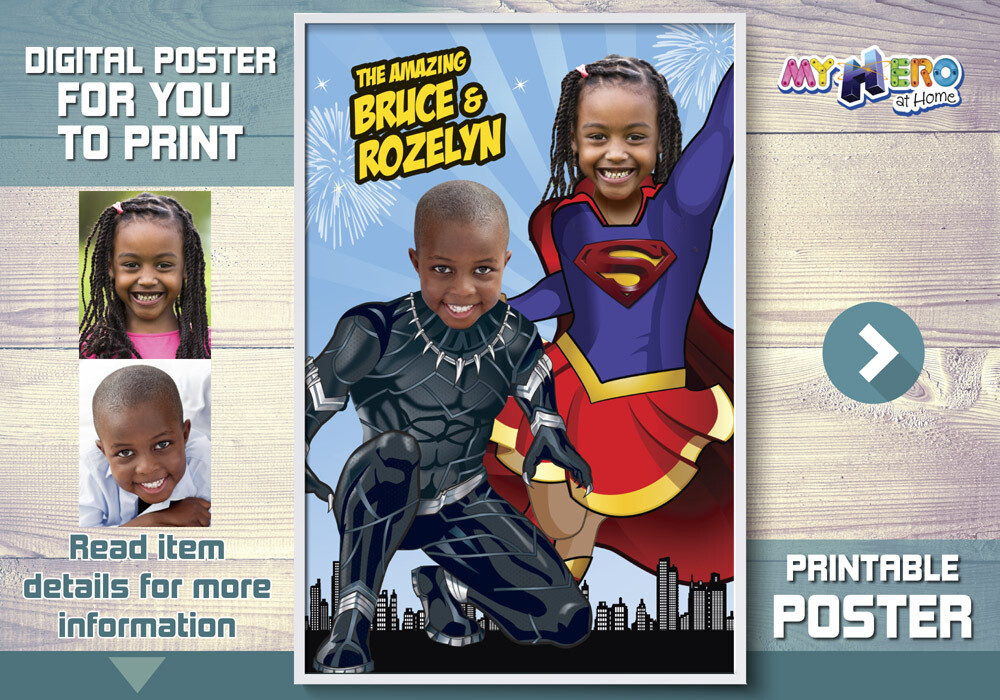 Supergirl and Black Panther poster, Super Siblings Poster, Joint Superheroes Poster, Black Panther and Supergirl Poster, Joint Superheroes Decor. 510