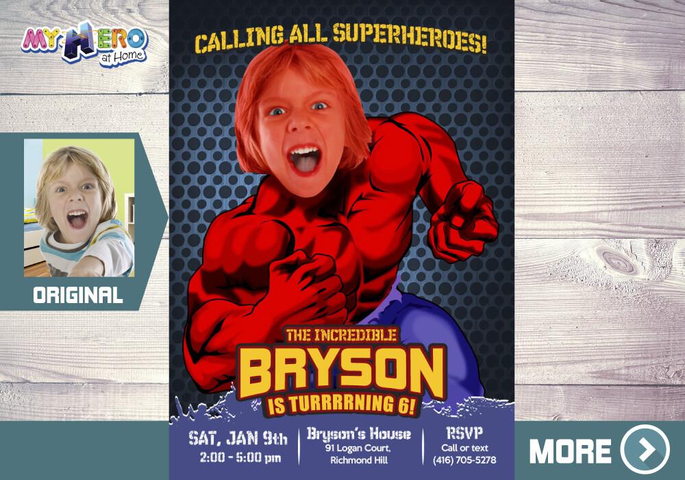 Incredible Red Hulk Birthday Invitation, Red Hulk theme party, Red Hulk Party Invitation, Red Hulk Digital Invitation. 092