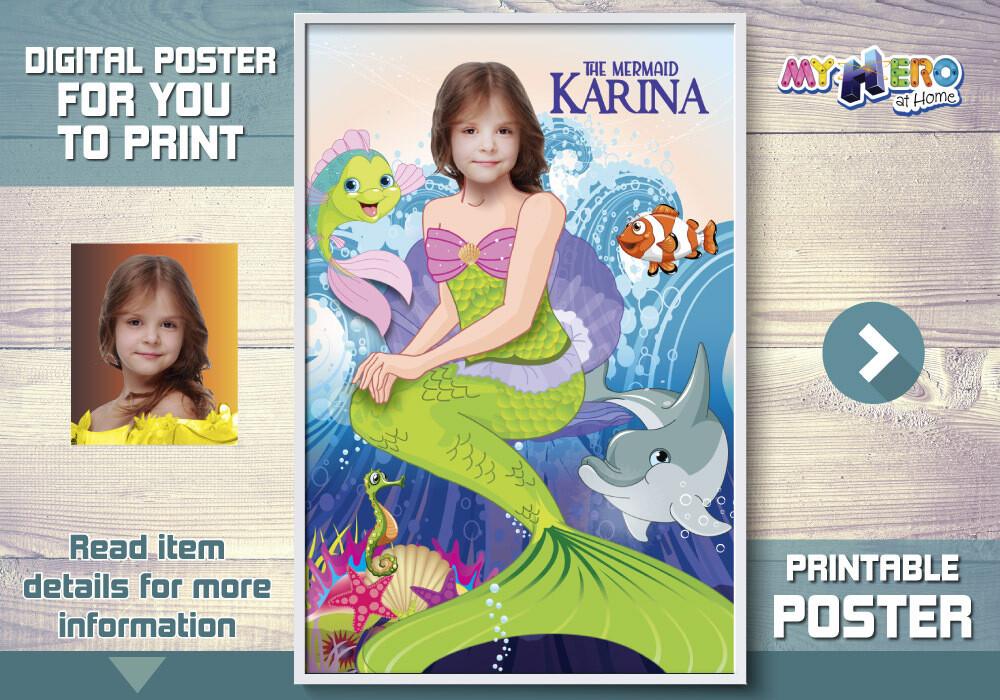 Little Mermaid Poster, Mermaid Poster, Mermaid Decor, Mermaid Wall, Princess Ariel party Decor, Mermaid Art poster, Mermaid Gifts. 512