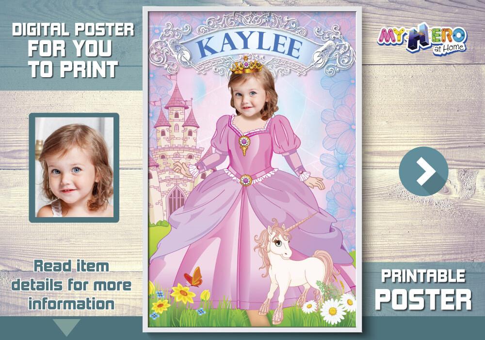 Princess Poster, Pink Princess Poster, Princess Unicorn Poster, Princess Decor, Princess Wall, Custom Princess Gifts. 514