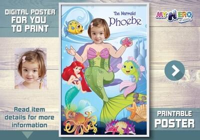 Little Mermaid Poster, Mermaid Poster, Mermaid Decor, Mermaid Wall, Princess Ariel party Decor, Mermaid Art poster, Mermaid Gifts. 513