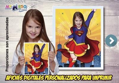 Afiche Personalizado de la Supergirl, Decoración Supergirl, Afiche Supergirl. Fiesta Supergirl. 515SP