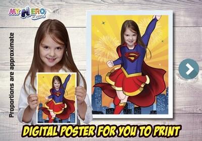 Supergirl Poster, Supergirl Decoration, Supergirl Art, Supergirl Gifts Fans, Supergirl Wall, Super Hero Girls Decor, Supergirl Party. 515