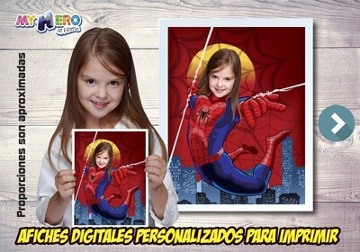 Afiche Personalizado de Spider-Woman, Decoración Spider-Woman, Afiche Spider-Woman Fiesta Mujer Arana. 516SP