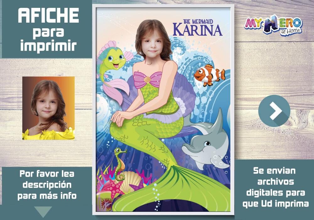 Sirenita Afiche, Princesa Ariel Decoracion, Afiche Personalizado de la Sirenita, Fiesta Sirenita. 512SP