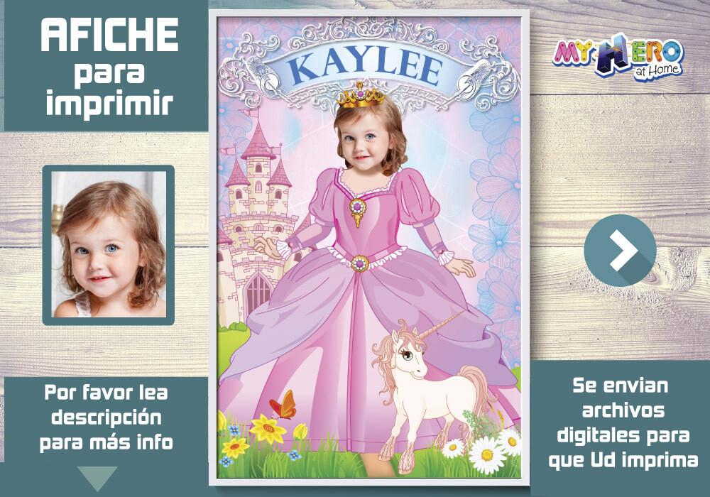 Princesa Afiche, Princesa Decoracion, Afiche Personalizado de Princesa, Fiesta Princesa y Unicornios, Afiche de Princesa y Unicornios. 514SP
