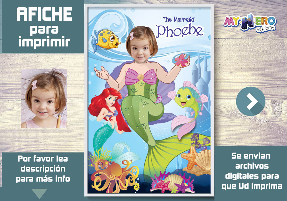 Sirenita Afiche, Princesa Ariel Decoracion, Afiche Personalizado de la Sirenita, Fiesta Sirenita. 513SP