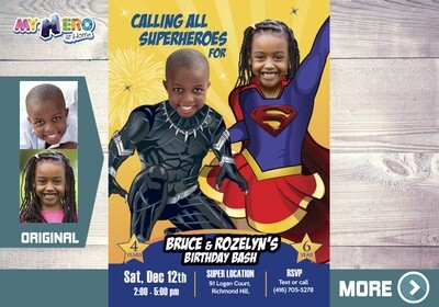Black Panther and Supergirl Birthday Invitation, Supergirl and Black Panther Party, Joint Superheroes theme Party. 518