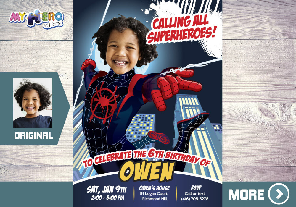 Spider-Verse Birthday Invitation, Spider Verse Party, Spider-Man Into the Spider-Verse Party, Miles Morales Party, Spider-Verse Digital. 399