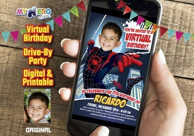 Spider Verse Virtual Invitation, Spider-Verse Virtual Birthday, Spider-Verse Social Distance Ideas, SpiderVerse Drive By Party. 399CV